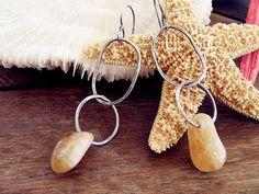 Greek earrings citrine earrings stone earrings silver hoop earrings double hoop earrings dangle earrings long 3 inch oxidized (58.00 USD) by CarmelaRosa