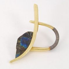 "Ring, 18k Gold and Sterling Silver with Spectrolite, Top piece is 2"" wide, Size 7.5  				                  						              						                 						                 				                  						              						              Artist   				                  						              						                								  	      Harold O'Connor"