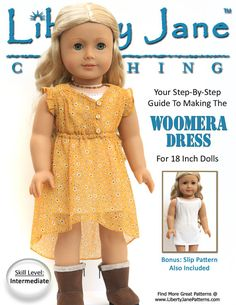 Pixie Faire Liberty Jane Woomera Dress  Doll Clothes Pattern for 18 inch American Girl Dolls - PDF