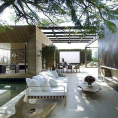 Best Ideas For Modern House Design & Architecture : – Picture : – Description loungy pool area – ahhhhh dream house Interior Exterior, Exterior Design, Interior Architecture, Interior Livingroom, Beautiful Architecture, Interior Doors, Landscape Architecture, Outdoor Spaces, Outdoor Living