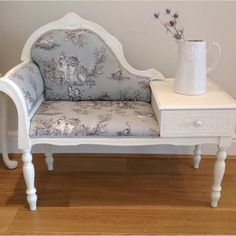 French style telephone table. Painted in Annie Sloan old white and reupholstered in French toile fabric