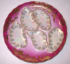 Rose and Mother of Pearl Porcelain  Oyster Plate with Gold Trim