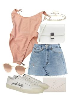"""""""Untitled #21567"""" by florencia95 ❤ liked on Polyvore featuring American Apparel, Yves Saint Laurent, Ray-Ban and ASOS"""