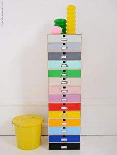 A colourful DIY project made from IKEA document drawers.