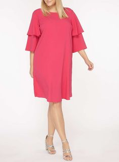 gorgeous color! This item is part of the DP Curve Collection.Pink dress with double layer sleeve detailing. Wearing length is approximately 110cm. 100% Polyester. Machine washable. affiliate link #plussize