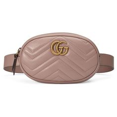 Women's Gucci Gg Marmont 2.0 Matelasse Leather Belt Bag (63.970 RUB) ❤ liked on Polyvore featuring bags, porcelain rose, chevron bags, gucci bags, brown bag, leather bag belt and bum bags