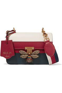 Gucci - Queen Margaret Embellished Paneled Leather Shoulder Bag - Red