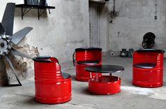 Loungemöbel - Fass Sitzgruppe aus 200 l Neu Fass Farbe n. Wahl - ein Designerstück von Fasszination bei DaWanda