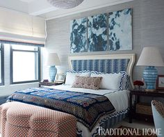 @tiltonfenwick Beautiful bedroom! Thanks for using my BWH Turquoise Lamps! @traditionalhome