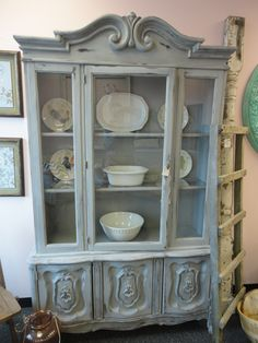 French Provincial China Cabinet Hutch painted distressed, Houston ...
