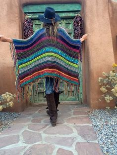 """Hip Length Knitted Womens Bohemian Festival Hippie Beach Poncho Cape Shawl (""""For Mary""""). Knitted Wrap or Shawl. No pattern. Poncho Au Crochet, Mode Crochet, Knit Crochet, Hippie Style, Hippie Chic, My Style, Boho Style, Poncho Cape, Poncho Shawl"""