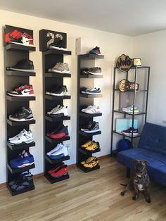 Shoe display racks sneaker rack best storage ideas on shelves fashion brand shop shoes design metal Sneaker Rack, Sneaker Storage, Closet Shoe Storage, Shoe Storage Cabinet, Storage Cabinets, Shoe Racks, Shoe Closet, Shoe Wall, Shoe Room