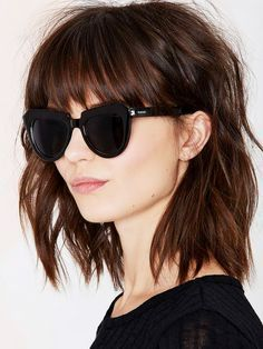 Die schönsten Long Bob Frisuren: Ausgefranster Bob mit Pony - No Name - Long Bob Hairstyles, Hairstyles With Bangs, Pretty Hairstyles, Short Haircuts, Hairstyle Short, Hairstyles 2016, Hairstyle Ideas, Summer Haircuts, Layered Hairstyles