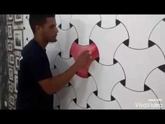 A tutorial for do-it-yourself homeowners on how to apply knock-down texture to drywall. Asian Wall Art, Creative Wall Painting, 3d Wall Painting, Paint Designs