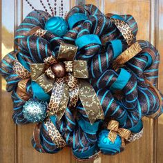 Turquoise and Brown Striped Deco Mesh Wreath by twoBFs.