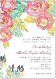 Sunlit Blooms - Signature White Textured Wedding Invitations in Medium Pink   Lana Frankel