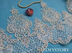 Silver Thread Lace Trim Corded Sequined Alencon Lace Wedding