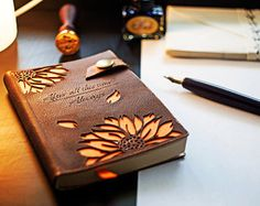 A6 Harry Potter leather notebook Valentine gift notepad Always with sunflowers engraved Nostalgy Scribbling pad Severus Snape