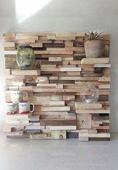 42 Adorable Pallet Wall Art 72 Few Superb Recycling Ideas with Used Wood Pallets 8 Pallet Wall Shelves, Diy Pallet Wall, Pallet Wall Bedroom, Rustic Wall Shelves, Pallet Walls, Diy Wand, Into The Woods, Wooden Wall Art, Diy Wall Art