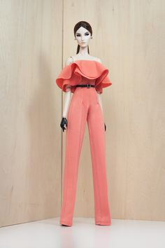 """Off shoulder ruffles jumpsuit with black faux leather belt  Material: Cotton knit in dark salmon  Unlined  No back closure.2-way stretchable fabric  Fits: New FR, NuFace, Color Infusion, Barbie and 12"""" dolls with similar body measurements"""