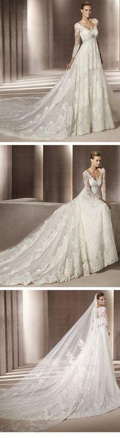 Fantastic Empire 3/4-Length Sleeve V-neck Lace  Wedding Dresses 2012 Spring Trends