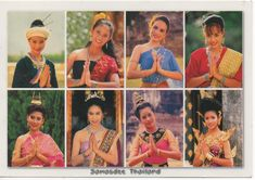 The way to greeting ( Sawasdee ) of Thai's people from some different woman with different outfit style . Traditional Thai clothing is called chut thai consists of a pha nung or a chong kraben, a blouse, and a sabai