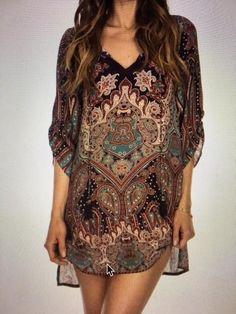 EF Tolani Nia Plum Paisley Floral Print Silk Tunic Top Dress