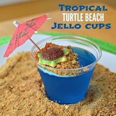 Blue Raspberry Jello Cups for Kids {Tropical Turtle Beach}Cute Birthday Party Desserts Kids Will Like Luau Birthday, Turtle Birthday, Turtle Party, Birthday Ideas, Hawaiian Birthday, Tropical Party Foods, Tropical Desserts, Hawaian Party, Luau Food