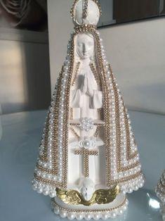 Imagem Nossa Senhora Aparecida em pérolas - diy