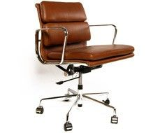 Eames EA217 Inspired Low Back Soft Pad Vintage Brown Leather Office Chair