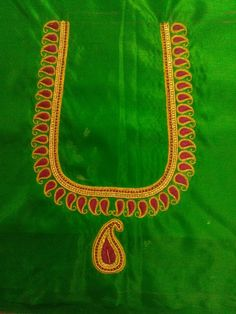 Simple Blouse Designs, Silk Saree Blouse Designs, Blouse Neck Designs, Simple Designs, Aari Embroidery, Simple Embroidery, Maggam Work Designs, Self Design, Work Blouse