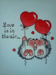 "Margaret Sherry Valentine ""Love Is in The Air"" Hedgehogs Completed Cross Stitch Cross Stitch Love, Cross Stitch Animals, Cross Stitch Designs, Embroidery Stitches, Embroidery Patterns, Minion Pattern, Margaret Sherry, Craft Stick Crafts, Crossstitch"
