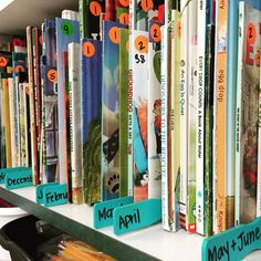 """Using paint sticks to section off books. I decided to clear off the top of one shelf in my library by putting away my """"monthly"""" books! I feel like it will make my """"slant shelf"""" display change outs much more exciting too! Classroom Setting, Classroom Setup, Classroom Design, Kindergarten Classroom, Future Classroom, School Classroom, Book Dividers, Shelf Dividers, Paint Stirrers"""