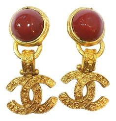 acb50409d616 Authentic Vintage Chanel 18K Gold Plated CC Red Stone Dangle Clip on  Earrings. Free shipping