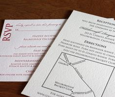 Wedding invitation suite, letterpress - love the style of this letterpress directions card with map!