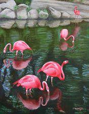 Pink Flamingo, Bird, Wild Life Original Oil Painting, Signed, Wall Art Deco