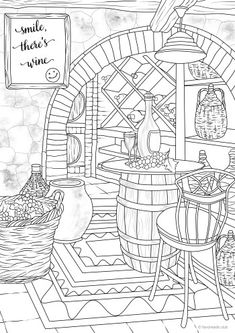 Fairy Tales Printable Adult Coloring Pages from Favoreads Food Coloring Pages, House Colouring Pages, Abstract Coloring Pages, Printable Adult Coloring Pages, Flower Coloring Pages, Mandala Coloring Pages, Coloring Sheets, Free Coloring, Coloring Books