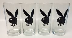 Set Of 4 Playboy Bunny Highball Glasses 13 Ounce Barware Great For Bar Man Cave