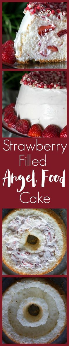 Fluffy Angel Food Cake stuffed with strawberries and whipped cream. Frosted with a cream cheese frosting. This recipe shows you exactly how to stuff this cake. So easy but so impressive. People will want to know how you did it.
