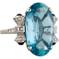 Pre-owned Aquamarine, Diamond & Ruby Cocktail Ring (34.555 DKK) ❤ liked on Polyvore featuring jewelry, rings, blue, diamond jewellery, aquamarine rings, blue diamond rings, blue diamond jewelry and diamond rings