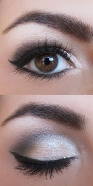 Eye Makeup idea #2: Silver on the lid with definition in the outer corner, winged liner and lower lash line liner