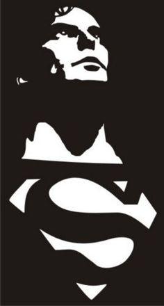 Christopher Reeve Superman Bike's For You 🚲 Stencils, Stencil Art, Superman Silhouette, Hero Marvel, Christopher Reeve Superman, Superman Man Of Steel, Glass Engraving, Custom Screen Printing, Bike Art