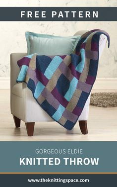 Gorgeous Eldie Knitted Throw [FREE Knitting Pattern] Craft this cozy knitted color-block throw perfect as a thoughtful handmade housewarming gift. Fall Knitting Patterns, Loom Knitting, Free Knitting, Knitting Projects, Baby Knitting, Knitting Needles, Knitted Afghans, Knitted Baby Blankets, Knitted Blankets