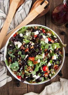 This deliciously fresh summer salad with feta, pecans, basil and blackberry vinaigrette is a perfect light and healthy salad for a quick weeknight meal.  - Feasting Not Fasting