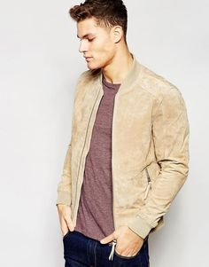 Shop Esprit Suede Bomber Jacket at ASOS. Order now with multiple payment and delivery options, including free and unlimited next day delivery (Ts&Cs apply). Mens Zip Up Jackets, Mens Outdoor Jackets, Stylish Jackets, Men's Jackets, Tan Bomber Jacket, Suede Jacket, Canvas Jacket, Mode Style, Men's Style