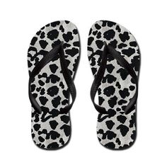 Black and White Animal Skin Pattern Flip Flops #animalprint #flipflops
