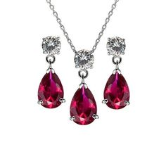 Stunning ruby pendant with drop earrings