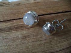 Ohrringe Silber 925 Sterlingsilber Regenbogenmondstein Stecker Studs weiß H23
