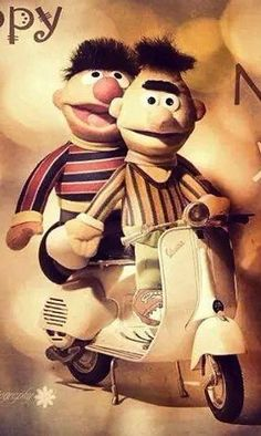 Bert & Ernie on a Vespa