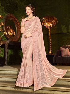 Indian Women Pink Color Jacquard Fancy Embroidered Saree Look your ethnic best by wearing this pink color imported coated fabrics and important net jacquard fabrics and jacquard border and diamond border saree. Ideal for party, festive & social gatherings Indian Dresses, Indian Outfits, Indian Clothes, Raw Silk Fabric, Jacquard Fabric, Wedding Lehnga, Satin Saree, Designer Sarees Online, Saree Look